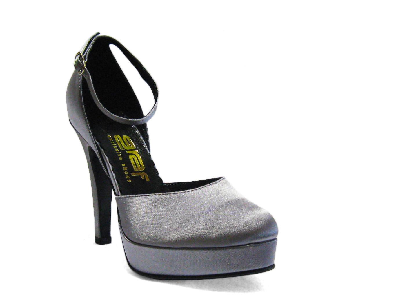 Svatební boty GRAF 076 - satén stříbrný-podměrná 7de4e2208c