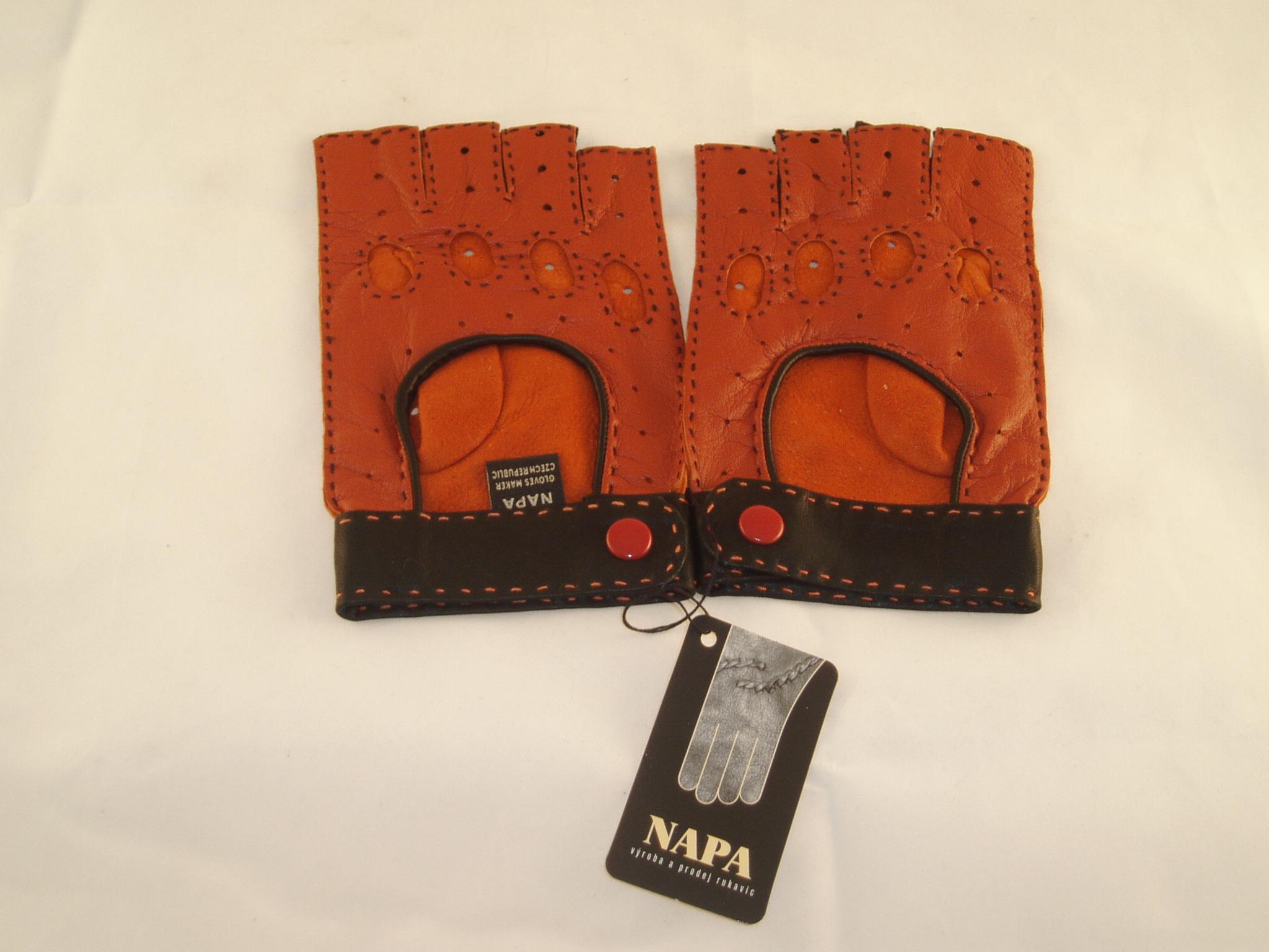1396465f451 Výprodej-pánské kožené autorukavice-oranžová černá