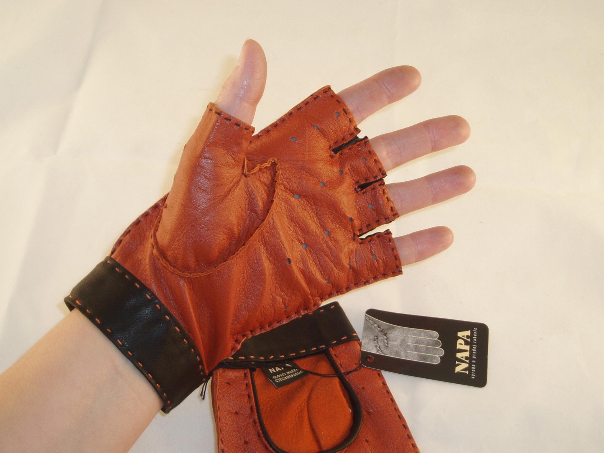 ... Výprodej-pánské kožené autorukavice-oranžová černá ... 77c6095237