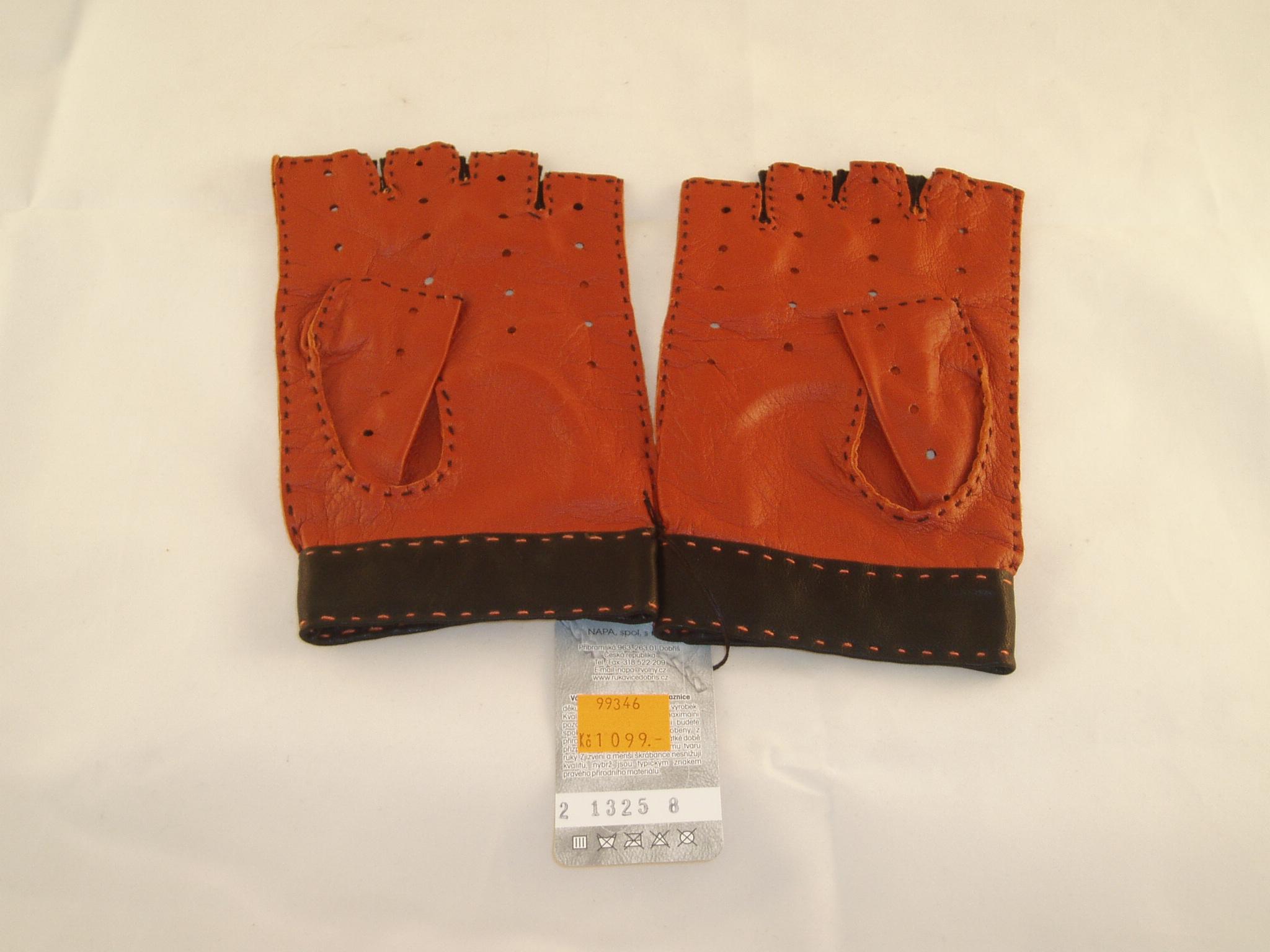 Výprodej-pánské kožené autorukavice-oranžová černá ... 0c62e65ad3